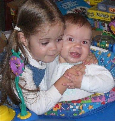 Preschooler with infant sister.