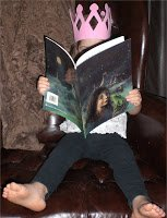 My little princess stinky toes reading Leslie Elizabeth Watts' picture book.