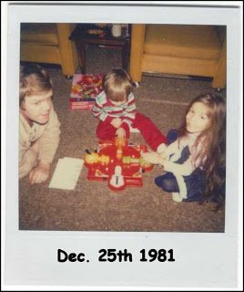 vintage polaroid photo of Boy, girl, dad, playing Hungry Hungry Hippos.