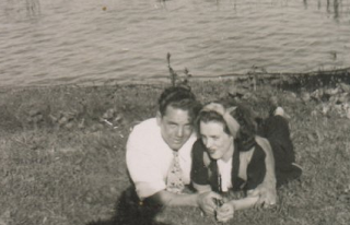 Young couple on the riverbank in 1949.