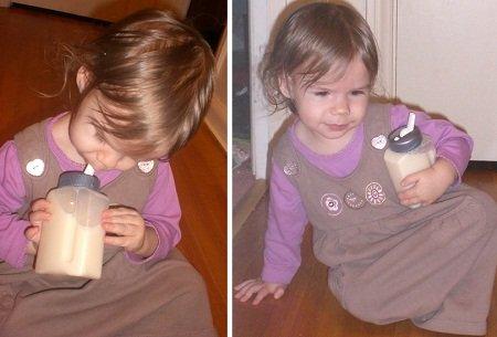 Baby-G enjoying So Good soy milk.