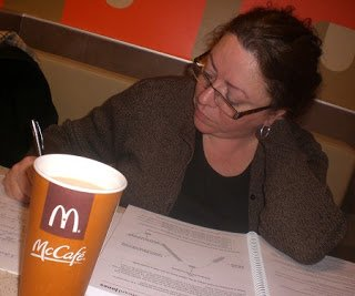 My mom studying in the McCafe.
