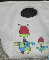 Fluf Organic Cotton Lunch Bag _ Robots Pattern