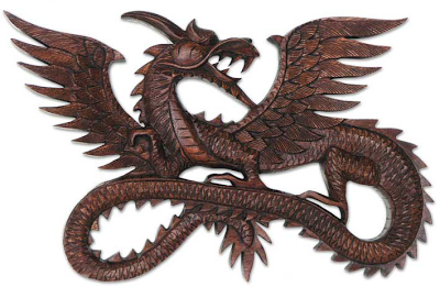Hard-Carved Wooden Dragon From Bali