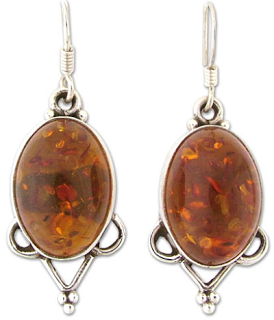 Artisan-Made Amber and Silver Earrings