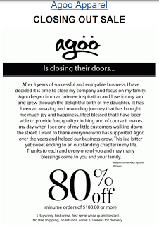 Agoo Closing Out Sale