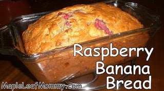 Finished Raspberry Banana Bread, moist and delicious