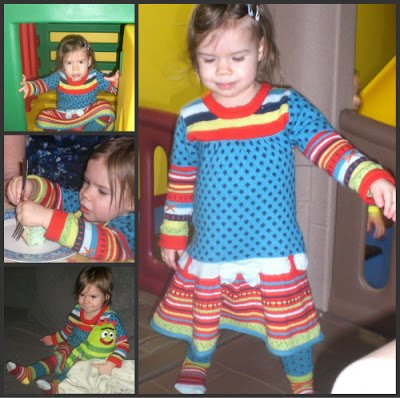 Collage of two year old girl birthday photos featuring lovely and colourful Deux par Duex dress.