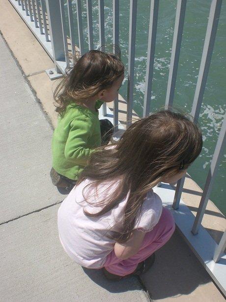 Preschool sisters looking in the River at Dieppe Park.