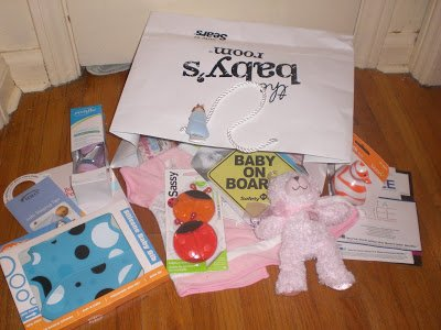 Bag full of Sears The Baby's Room goodies.