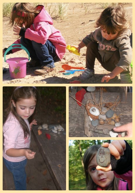 Collecting rocks and twigs.