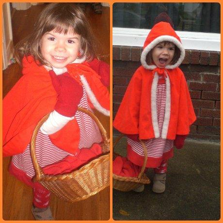 Preschooler dressed as Little Red Riding Hood
