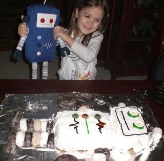 Robot doll meet robot cake.
