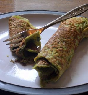 Green crepes, made with garden pesto.