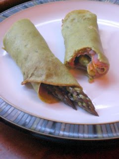 Springtime crepes, salmon and asparagus.