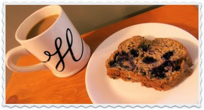Homemade banana and blueberry bread with coffee.