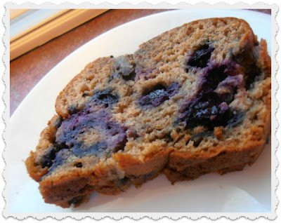 Fresh baked blueberry banana bread.