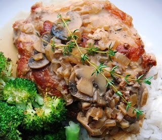 Creamy Mushroom pork Chops, ready to eat.