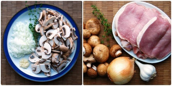 Fresh Ingredients laid out for Creamy Mushroom Sauce Pork Chop Recipe
