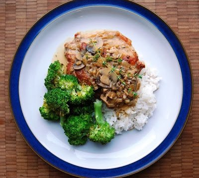 Creamy Mushroom Sauce Pork Chops the Clean Version