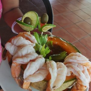 Fresh from the ocean, shrimp cocktail served in a melon.