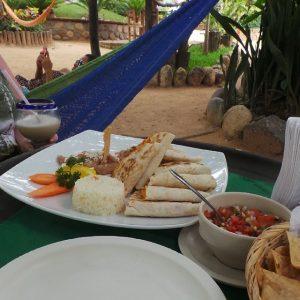 Quesadillas, nacho chips and salsa. Fresh local food in Puerto Vallarta.