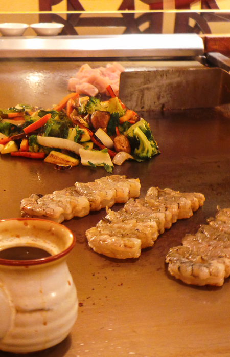 Teppanyaki prepared with flair, tableside at Mikado Japanese Restuarant in PV, Mexico.