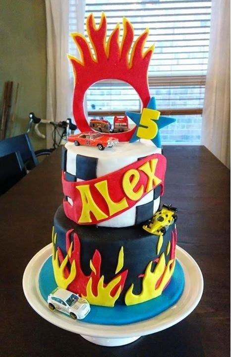 Hot Wheels Themed Birthday Cake, Ring of Fire! {Cake Magic