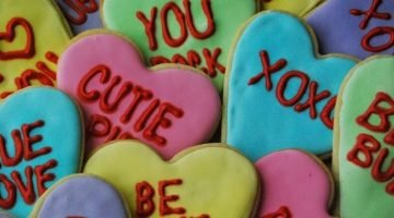 Valentines Day Candy Heart Sugar Cookies