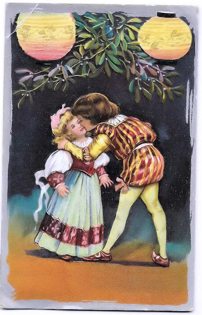 a kiss on the cheek antique 1912 postcard