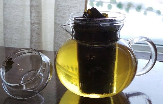 Glass teapot in the sunlight.
