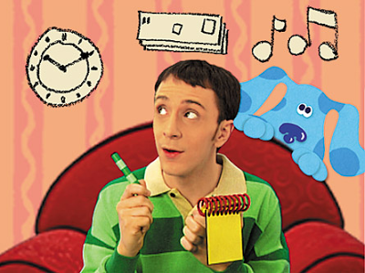 Find three clues and solve the Blue's Clues puzzle.