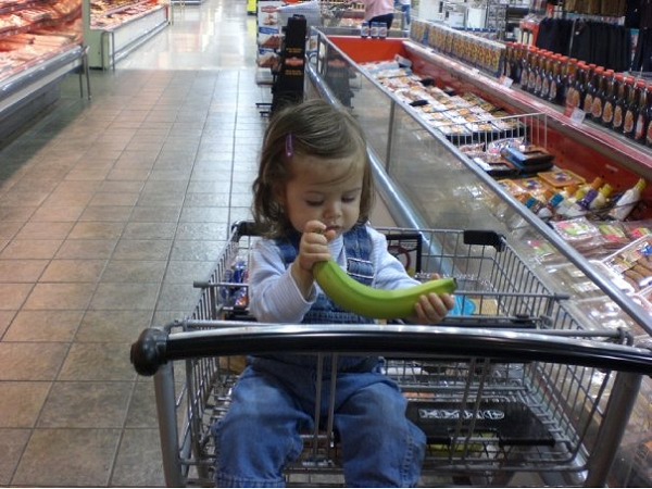 Grocery shopping with a toddler in the cart is easy, compared to squabbling school age kids.