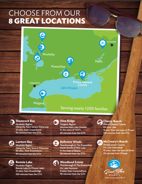 Eight Great Blue Resorts locations in Ontario