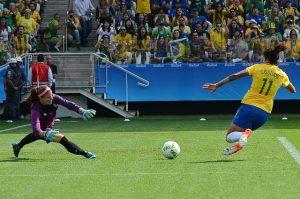 Goalkeeper Stephanie Labbé playing vs Brazil in 2016 Summer Olympics