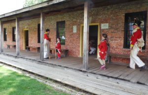 1812 reenactors, outside the barracks at For Malden in Amherstburg Ontario