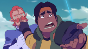 Hunk and Coran provide comic relief in Voltron.