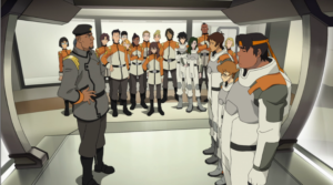 There are female Galaxy Garrison Cadets in Voltron pilot episode.
