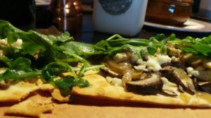 Forest mushroom flatbread pizza at Toothsome Savoury Feast Kitchen