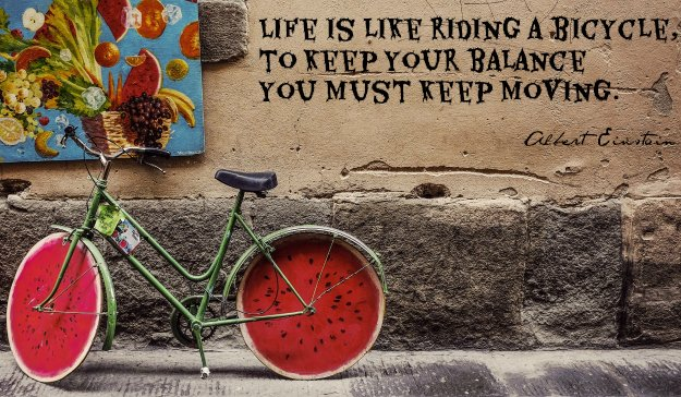 Life is like riding a bicycle... Einstein quote
