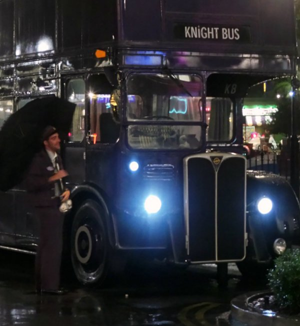 Meeting the Knight Bus conductor at Universal Studios Florida.