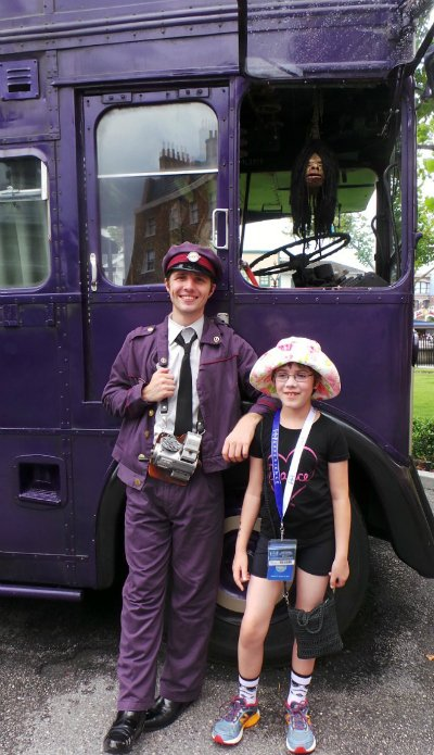 Get your photo taken with the NightBus conductor at Universal.