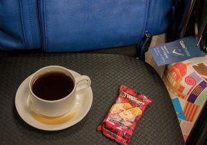 Shortbread and coffee for breakfast, at the Toronto Porter lounge.