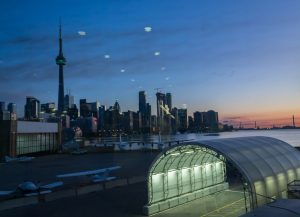 View of the Toronto Skyline on the way to Billy Bishop;s Porter lounge.