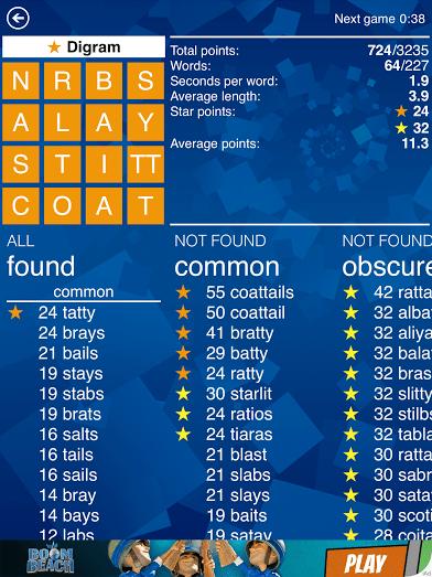Screenshot of an average score in Wordament.