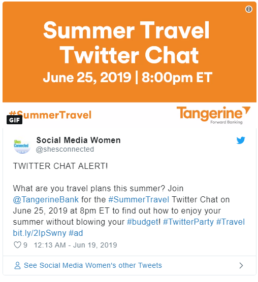 Summer Travel Twitter Chat with Tangerine Bank