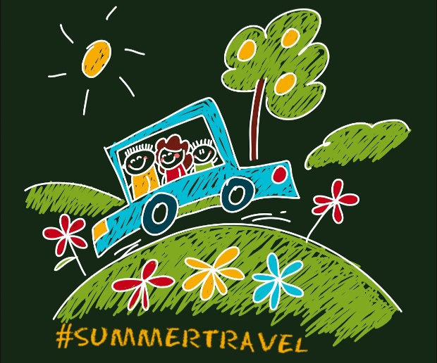 Kids chalk drawing of happy family on a car trip, summer travel.